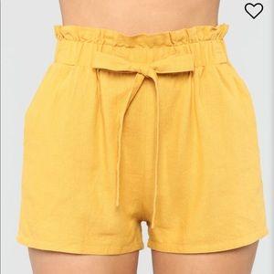 Pants - Tie Waist Mustard Shorts